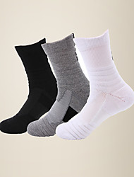 cheap -LITB Basic Men's Comfort Breathable Basketball Socks Nylon Terry-loop Hosiery Sports Calf Sock One-Size EU 38-44 For Male