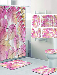 cheap -Beautiful Autumn Leaves Pattern Printing Bathroom Shower Curtain Leisure Toilet Four-Piece Design