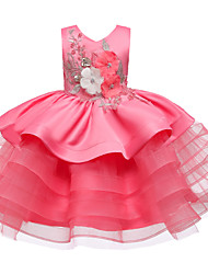 cheap -Kids Little Girls' Dress Jacquard Flower Party Birthday Party Layered Lace Bow Blue Purple Red Above Knee Sleeveless Flower Cute Dresses Children's Day Slim 3-12 Years