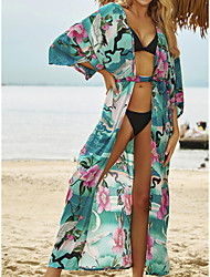 cheap -Women's Swimsuit Cover Up Beach Top Swimsuit Front Tie Slim Floral Leaf Green Swimwear Tunic Blouse V Wire Bathing Suits New Fashion Sexy