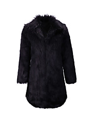 cheap -Women's Solid Colored Winter Fur Coat Long Going out Long Sleeve Faux Fur Coat Tops Black