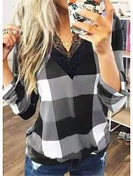 cheap -Women's V-Neck Lattice Graticule Shirt Women Lace Top Blouse Daily Summer