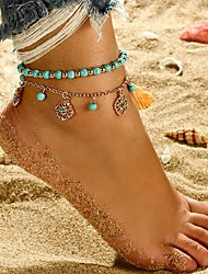 cheap -Anklet Boho Women's Body Jewelry For Holiday Beach Turquoise Alloy Gold 1 PC
