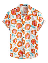 cheap -Men's Shirt Floral Short Sleeve Daily Tops 100% Cotton Basic Boho White