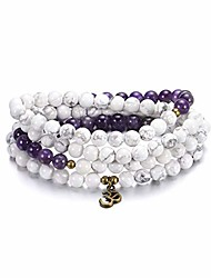cheap -sunflower jewellery 8mm 108 mala beads wrap bracelet necklace for yoga charm bracelet natural stone jewelry for women men (white turquoise and amethyst)