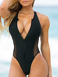 cheap -Women's One Piece Swimsuit Tummy Control Zipper Mesh Black Blue Red Swimwear Bathing Suits Sexy / Slim