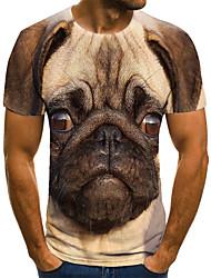 cheap -Men's T shirt 3D Print Animal 3D Print Print Short Sleeve Casual Tops Casual Fashion Light Brown