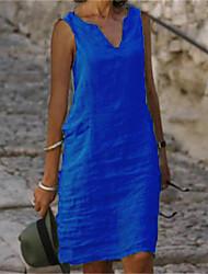 cheap -Women's A Line Dress Knee Length Dress Blue Red Yellow Blushing Pink Green Royal Blue Sleeveless Solid Color Summer V Neck Elegant 2021 S M L XL XXL 3XL 4XL