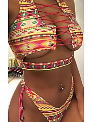 cheap -Women's Bikini 2 Piece Swimsuit Open Back Slim Solid Color Geometric Rainbow Blue lips Multicolor checkered Swimwear Padded Bathing Suits New Fashion Sexy / Padded Bras