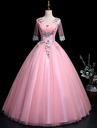 cheap -Ball Gown Luxurious Floral Quinceanera Prom Dress V Neck Half Sleeve Floor Length Tulle with Sequin Appliques 2021