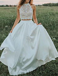 cheap -Two Piece A-Line Wedding Dresses High Neck Sweep / Brush Train Lace Satin Sleeveless Country Romantic Beach with Pleats Appliques 2021