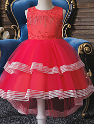 cheap -Ball Gown Asymmetrical / Knee Length Wedding / Event / Party Flower Girl Dresses - Tulle / Polyester Sleeveless Jewel Neck with Tier / Bandage / Trim