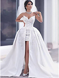 cheap -A-Line Wedding Dresses Strapless Sweep / Brush Train Lace Satin Sleeveless Formal Luxurious with Appliques 2021