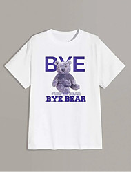 cheap -Men's Unisex T shirt Hot Stamping Graphic Prints Toy Bear Plus Size Print Short Sleeve Daily Tops 100% Cotton Basic Fashion Classic White