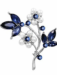 cheap -crystal flower brooches pin with simulated pearl bouquet jewelry accessories for women,silver
