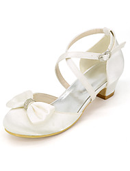 cheap -Girls' Heels Flower Girl Shoes Princess Shoes Satin Little Kids(4-7ys) Big Kids(7years +) Party & Evening Bowknot Sparkling Glitter White Ivory Spring Summer
