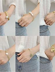cheap -Women's Pearl Bead Bracelet Vintage Bracelet Pear Cut Vintage Theme Stylish Alloy Bracelet Jewelry Rainbow For Gift Date