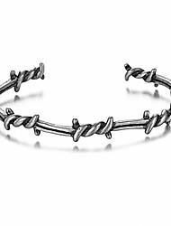 cheap -Men Bangle Open Cuff Twist Thorns Wire Titanium Steel Geometric Bracelet Open Cuff Barbed Jewelry Viking Bangles