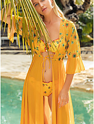 cheap -Women's Swimsuit Cover Up Beach Top Swimsuit Mesh Slim Tropical Leaf Yellow Green Swimwear T shirt Dress Tunic V Wire Bathing Suits New Fashion Sexy