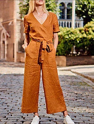 cheap -2020 amazon spring and summer new short-sleeved solid color casual loose-fitting trousers factory direct sales