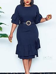 cheap -Women's Plus Size Dress Sheath Dress Knee Length Dress Half Sleeve Solid Color Ruffle Casual Spring &  Fall Blue Red L XL XXL 3XL
