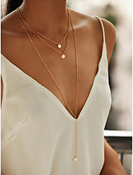 cheap -Women's Necklace Layered Necklace Stacking Stackable Simple Fashion Alloy Gold 40/45/70 cm Necklace Jewelry 3pcs For