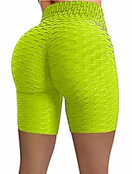 cheap -Womens Yoga Pants Women's Bubble Hip Butt Lifting Anti Cellulite Legging High Waist Workout Tummy Control Yoga Shorts Green