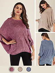 cheap -Women's Daily Blouse Plain 3/4 Length Sleeve Asymmetric V Neck Tops Oversized 65%Cotton 35%Polyester Basic Basic Top Blue Fuchsia Khaki / Machine wash / Spring / Summer