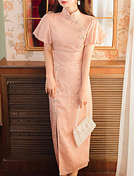 cheap -Sheath / Column Glittering Chinese Style Party Wear Wedding Guest Dress Stand Collar Short Sleeve Ankle Length Spandex with Buttons Pattern / Print 2021