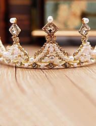 cheap -Children's Crown Headdress Princess Crown Girl Rhinestone Hair Hoop Birthday Gift Walk Show Dress High-end Performance Accessories