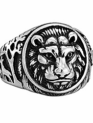 cheap -Stainless steel Cool Lion Ring Retro classic silver Hip hop fashion Bands for men women (8)