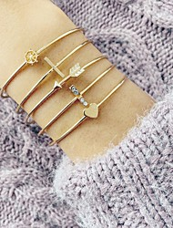 cheap -5pcs Women's Bracelet Stacking Stackable Heart Stylish European Sweet Rhinestone Bracelet Jewelry Gold For Party Evening Prom Date Birthday Festival