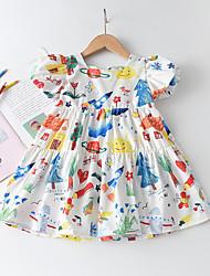 cheap -Kids Little Girls' Dress Cartoon Graphic Print White Short Sleeve Cute Dresses Regular Fit