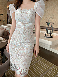 cheap -Sheath / Column Elegant Boho Wedding Guest Cocktail Party Dress Scoop Neck Short Sleeve Tea Length Lace with Lace Insert 2021