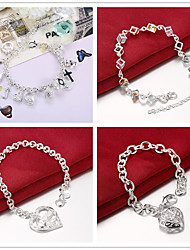 cheap -Charm Bracelet Bracelet 3D Heart Fashion Copper Bracelet Jewelry Silver For Christmas Halloween Party Evening Gift Date / Silver Plated