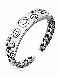 cheap -silver smile face open ring for women men adjustable wide smiling statement ring fashion party jewelry (smile-1)