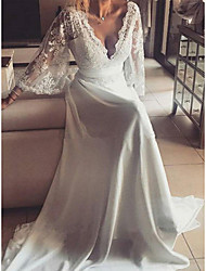 cheap -Sheath / Column Wedding Dresses V Neck Sweep / Brush Train Chiffon Lace 3/4 Length Sleeve Romantic Beach with Sashes / Ribbons Appliques 2021