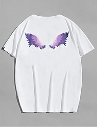 cheap -Men's T shirt Hot Stamping Wings Print Short Sleeve Casual Tops 100% Cotton Basic Casual Fashion White