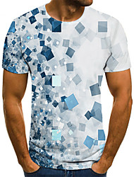 cheap -Men's T shirt 3D Print Geometric 3D Print Print Short Sleeve Casual Tops Casual Fashion White