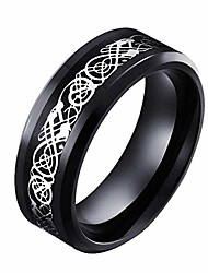 cheap -mensring 8mm black ring titanium steel mens ring hollow and fiber design men's wedding ring man ring