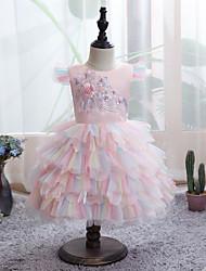 cheap -Kids Little Girls' Dress Floral Beaded Bow Blue Yellow Blushing Pink Knee-length Sleeveless Active Dresses Summer Regular Fit 2-6 Years