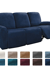 cheap -Sectional Recliner Sofa Slipcover 1 Set of 8 Pieces Microfiber Stretch High Elastic High Quality Velvet Sofa Cover Sofa Slipcover for 3 Seats Cushion Recliner Sofa Furniture Protector