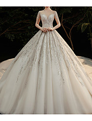 cheap -Princess Ball Gown Wedding Dresses Jewel Neck Chapel Train Lace Tulle Sequined Short Sleeve Formal Romantic Luxurious Sparkle & Shine with Beading Sequin Appliques 2021