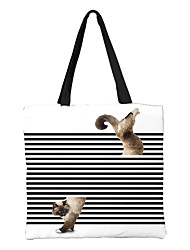 cheap -Unisex Bags Canvas Top Handle Bag Zipper Animal Shopping Daily Handbags Chain Bag Sillver Gray Black Grey Black / White White