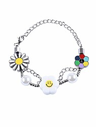 cheap -unisex asap hip hop rapper rainbow colorful sunflowers smiley bracelets punk rock exquisite pearl stainless steel alloy chain
