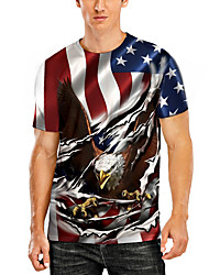 cheap -Men's T shirt 3D Print Graphic Animal Plus Size Print Short Sleeve Daily Tops Basic Casual Black Red Grey