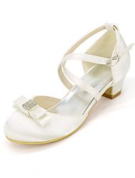 cheap -Girls' Heels Flower Girl Shoes Princess Shoes Satin Little Kids(4-7ys) Big Kids(7years +) Party & Evening Rhinestone Bowknot White Ivory Spring Summer