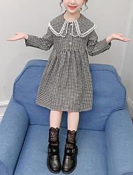 cheap -Kids Little Girls' Dress Plaid Festival Black Knee-length Long Sleeve Sweet Dresses New Year Regular Fit 4-13 Years