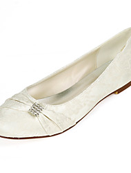 cheap -Women's Wedding Shoes Flat Heel Round Toe Wedding Flats Lace Rhinestone Floral White Light Purple Ivory