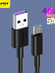 cheap -AWEI 5A 40W Micro USB Data Line Safe Fast Charging Phone Cable Data Line Micro USB Travel Data Micro Cable for Samsung Huawei Xiaomi LG Google Phone Quick Charger